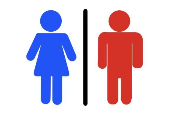 男女の色を入れ替えたトイレのピクトグラム